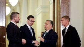 Maďarský premiér Viktor Orbán, slovenský premiér Peter Pellegrini, premiér České republiky Andrej Babiš a polský premiér Mateusz Morawiecki během summitu zemí Visegrádské skupiny (V4) a Rakouska v Národním muzeu v Praze. (16. 1. 2020)