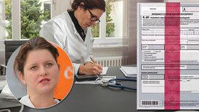 Lékaři eNeschopenky nemilují, jak si slibovala ministryně Maláčová (ilustrační foto)