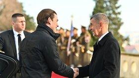 Česko-rakouské vztahy jsou i přes jádro silné, míní Babiš a Kurz, který byl v Praze na návštěvě (16. 1. 2020)