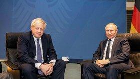 Ruský prezident Vladimir Putin a britský premiér Boris Johnson na berlínské konferenci o Libyi (19. 1. 2020)