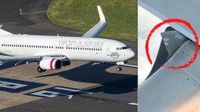 Letadlo aerolinek Virgin Australia se kvůli technické závadě na levém křídle muselo vrátit na letiště.