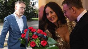 Vladimír Kremlík ve dvou obrazech: Při předbíhání ve frontě na rozloučení s Karlem Gottem i na hradním plesem s Alex Mynářovou