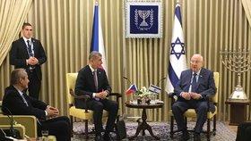 Premiér Andrej Babiš (ANO) s prezidentem Izraele Reuvenem Rivlinem (22. 1. 2020)
