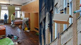 Ve vyhořelém domě ve Vejprtech začaly úklidové práce.