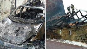 Požár zachvátil autodílnu a vzápětí i zbytek domu.