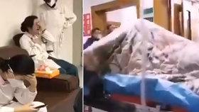 Děsivé video ukazuje pacienta nakaženého koronavirem v průběhu záchvatu