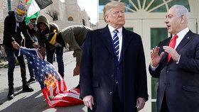 Trumpův mírový plán pro Blízký východ vyvolal protesty.
