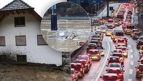 Německo zasáhly bleskové záplavy: Přívaly vody i bahna, obří kolony (4.2.2020)