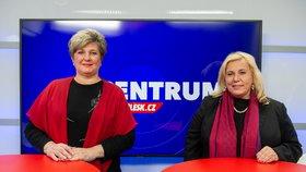Ministryně pro místní rozvoj Klára Dostálová (ANO, vpravo) a poslankyně Parlamentu ČR Věra Kovářová (STAN) v pořadu Epicentrum dne 4.2.2020.