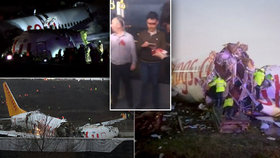 Drama v Istanbulu: Letadlo sjelo z ranveje a rozlomilo se