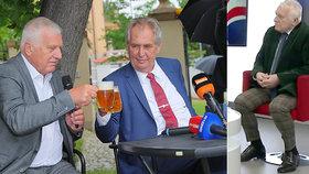 Exprezident Václav Klaus s Milošem Zemanem během přípitku na své narozeninové oslavě. A v křesle pro hosta ve slovenské televizi TA3