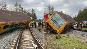 Na Příbramsku se srazil vlak s náklaďákem: Na místě jsou čtyři zranění