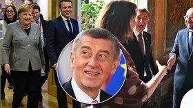 Summit EU v Bruselu: Angela Merkelová, Emmanuel Macron i Andrej Babiš se šéfem Evrpské rady Charlesem Michelem