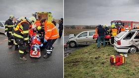 K nehodě u Vrbčan musel přiletět vrtulník.