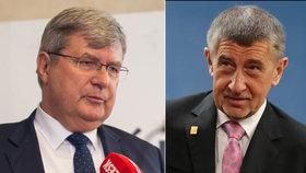 Miroslav Jansta (vlevo) a premiér Andrej Babiš (ANO)