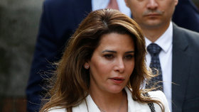 Jordánská princezna Hajá bint al-Husajn u Odvolacího soudu v Londýně, (26.02.2020).