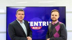 Vicepremiér, ministr vnitra a předseda ČSSD Jan Hamáček hostem pořadu Epicentrum dne 27.2.2020. Vpravo moderátor Jakub Veinlich.
