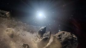 Asteroid ve vesmíru, (ilustrační foto)