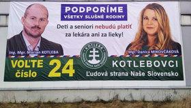 Billboard Danici Mikovčákové, kandidátky Kotlebovy LSNS.