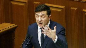 Ukrajinský prezident Volodymyr Oleksandrovyč Zelenskyj v parlamentu