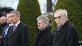 Vrchní ústavní činitelé uctili památku T. G. Masaryka: Prezident Miloš Zeman, šéf Senátu Miloš Vystrčil (ODS), premiér Andrej Babiš (ANO) (7. 3. 2020)