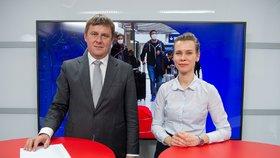 Ministr zahraničí Tomáš Petříček hostem pořadu Epicentrum 13.3.2020. Vpravo moderátorka Markéta Volfová.