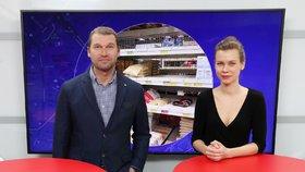 Generální ředitel online potravin Košík.cz Tomáš Jeřábek byl hostem pořadu Epicentrum vysílaného 18. 3. 2020. Vpravo moderátorka Markéta Volfová.
