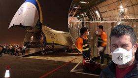 Letoun Ruslan dopravil do Česka 100 tun zdravotnického materiálu z Číny. S mezipřistáním v pákistánském Karáčí (21.3.2020)