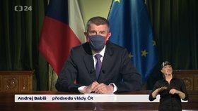 Premiér Andrej Babiš (ANO) přednesl svůj projev k národu kvůli situaci ohledně šíření nového koronaviru. (23. 3. 2020)