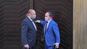 Zarouškovaní lidovci. V podomácku vyrobených rouškách dorazili do Sněmovny také šéf poslanců KDU-ČSL Jan Bartošek a bývalý předseda strany Marek Výborný ( 24. 3. 2020)