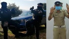 Také indičtí policisté předvedli koronavirový tanec.