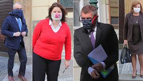 Politici v rouškách před Sněmovnou: Kalousek (TOP 09), Maláčová (ČSSD), Babiš (ANO) a Schillerová (za ANO) (24.3.2020)