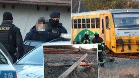 Na Příbramsku stála vlaková trať. Na kolejích leželo několik betonových pražců.