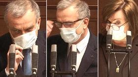 Miroslav Kalousek (TOP 09) měl velké potíže s dýcháním, ale i zamlženými brýlemi kvůli roušce. Alena Schillerová (za ANO) odvracela kritiku za nedostatečné škrty ve Sněmovně během jednání o navýšení schodku rozpočtu na 200 miliard (24.3.2020)
