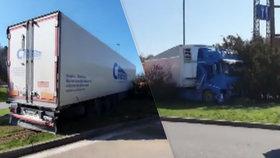 Rumunský řidič kamionu boural na pumpě u dálnice D1. Záchranáři mu naměřili vysokou teplotu.