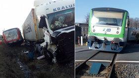 Nehoda kamionu a vlaku