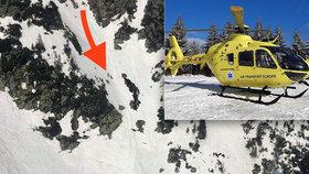 Skialpinista se zřítil v Krkonoších: Letěl pro něj vrtulník