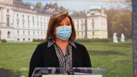 Alena Schillerová v roušce na tiskovce po jednání vlády
