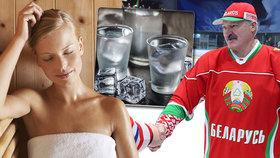 Lukašenko na virus radí saunu, hokej a vodku.
