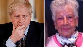 """Seniorka (89) posílá vzkaz premiérovi Johnsonovi: """"Buďte silný, Borisi. Jestli jsem to porazila já, zvládnete to taky."""""""