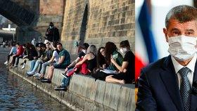 Premiér Andrej Babiš (ANO) a jeho televizní projev. A lidé i bez roušek na pražské náplavce