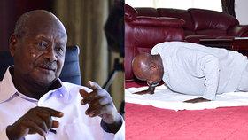 Ugandský protějšek a vrstevník Miloše Zemana předvedl domácí cviky na videu.