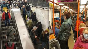 Lidé se i přes opatření tísnili v metru, 14. dubna 2020.