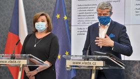 Ministryně financí Alena Schillerová (za ANO) a vicepremiér Karel Havlíček (ANO) na tiskové konferenci po jednání vlády (14. 4. 2020)
