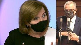 Vicepremiérka a ministryně financí Alena Schillerová (za ANO) a šéf poslanců TOP 09 Miroslav Kalousek