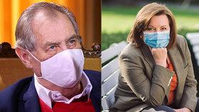 Prezident Miloš Zeman a ministryně financí Alena Schillerová (za ANO).