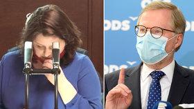"""Sněmovna o koronaviru: Maláčová (ČSSD) prosadila zvýšení ošetřovného na 80 procent, Fiala (ODS) šil do vlády, že """"zabíjí ekonomiku"""" (21.4.2020)"""