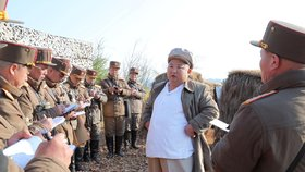 Snímek ukazuje severokorejského diktátora při jeho posledním veřejném vystoupení 11. dubna 2020.