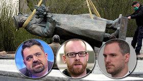 Pavel Novotný (ODS), Zdeněk Hřib (Piráti) a Ondřej Kolář (TOP 09) se skrývají před diktátorským Ruskem kvůli odstranění sochy Koněva. (28.4.2020)