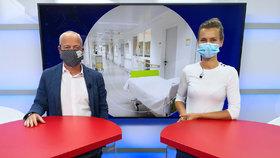 Přednosta urologické kliniky Fakultní nemocnice v Motole Marek Babjuk hostem pořadu Epicentrum vysílaného 28. 4. 2020. Vpravo moderátorka Markéta Volfová.